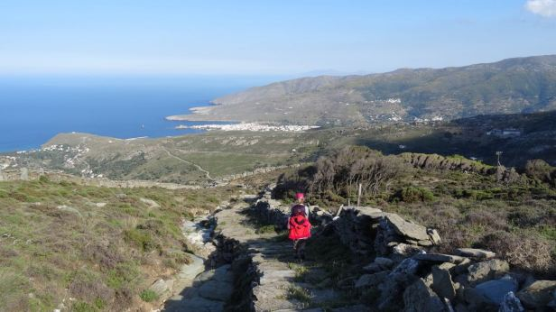 Heading down to Chora on ancient stone trail - 1