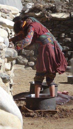 Young ladies doing the laundry in Chharka