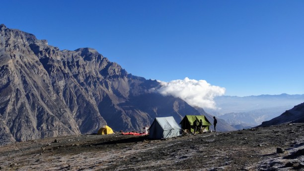 Our last campsite on a shelf just before Bhima Lojun Pass with a stunning view.